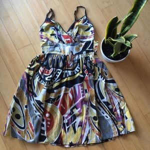 Fire Los Angeles retro multicolor bow dress
